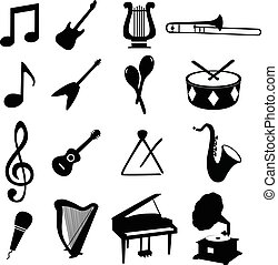 Set of musical icons, vector illustration