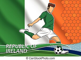 Soccer team player in uniform with state national flag of Republic of Ireland. Vector illustration.