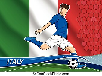 Soccer team player in uniform with state national flag of Italy. Vector illustration.