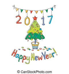 Happy New Year greeting card with fir. Cartoon style. Hand...