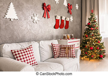 Christmas living room - Christmas decor and colorful tree in...