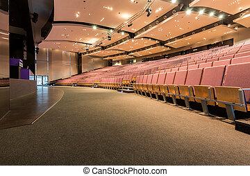 conferencia, techo, vestíbulo, caído