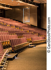 Lecture hall with wooden seats