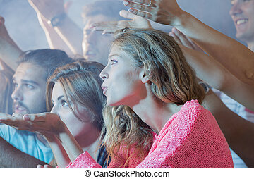 Group people enjoying concert show - Group of young people...