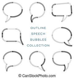 Modern outline speech bubbles collection