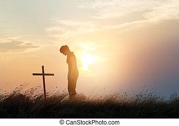 mujer,  respecting, cruz, campo, ocaso, Plano de fondo