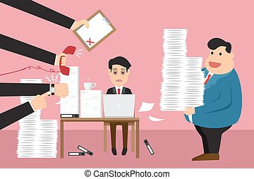 Worried cartoon businessman with phone in hand has a lot of work and document suitable for time management and many paperwork in hand boss. business concept design vector illustration.