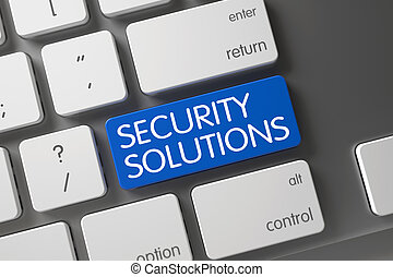 Security Solutions CloseUp of Keyboard. 3D. - Concept of...