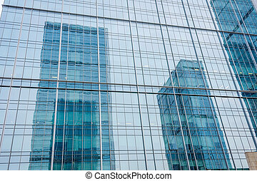 Reflections in skyscrapers, Chengdu - City reflection in...