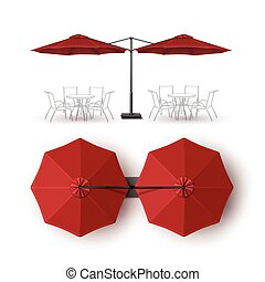 Red Patio Double Outdoor Cafe Lounge Umbrella - Vector Red...