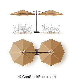 Beige Blank Patio Outdoor Umbrella for Branding - Vector...