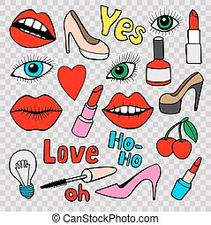 Fashion patch badges - Fashion quirky cartoon doodle patch...