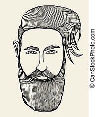 portrait of moustached man - Hand drawn portrait of...