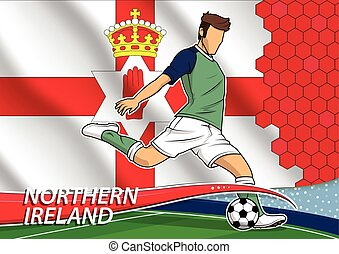 Soccer team player in uniform with state national flag of Northern Ireland. Vector illustration.