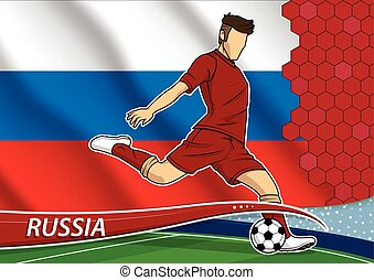 Soccer team player in uniform with state national flag of Russia. Vector illustration.