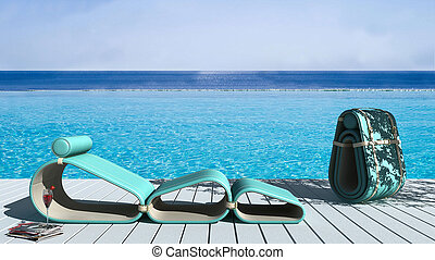 Infinite pool with deck and lounge chair