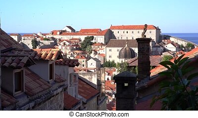 Dubrovnik Old Town roofs at sunrise, Croatia