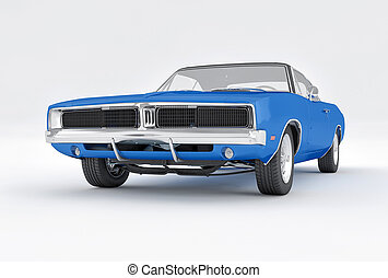 3D Isolated Blue Muscle Car. 1970s American Vintage. - 3D...