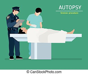 Flat illustration. The autopsy of the murder victim....