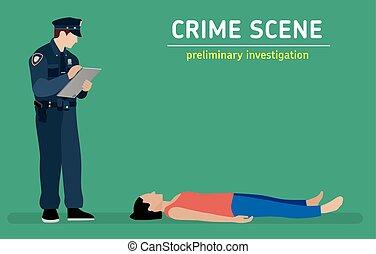Flat illustration. Murder investigation. - Murder...