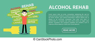 Alcohol rehab. Banner. Vector flat design - Happy man freed...