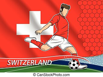 Soccer team player in uniform with state national flag of Switzerland. Vector illustration.