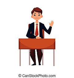 Clever school boy sitting at desk, raising hand to answer