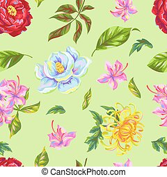 Seamless pattern with China flowers. Bright buds of...