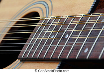 Twelve String Guitar - Close-up of the soundhole and...