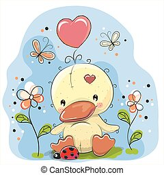 Cute Cartoon Duckling - Cute Duckling with flowers and...