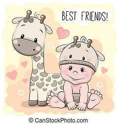 Cute Cartoon Baby and giraffe - Cute Cartoon Baby in a...