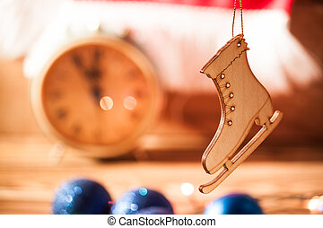 Photo christmas background with color lights