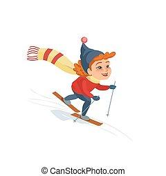 Cartoon skiing girl