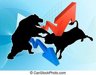 Bears Versus Bulls Stock Market Concept - Stock market...