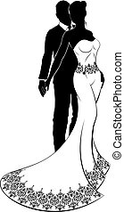 Bride and Groom Wedding Couple Silhouette - A bride and...