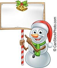 Snowman Holding Christmas Sign - Christmas snowman cartoon...