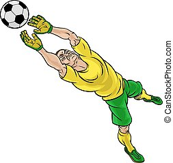 Cartoon Soccer Football Goalkeeper Player - A soccer...