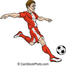 Football Soccer Player Cartoon Character - A cartoon...