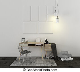 Scandinavian desk with carpet, chair and decors