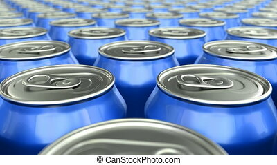Blue soda cans loop-able 3D animation