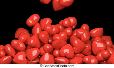 Red hearts 3D animation - Red glossy hearts are filling the...