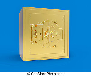 3D Isolated Safe Strong Box. Closed Security Business Safety Money.