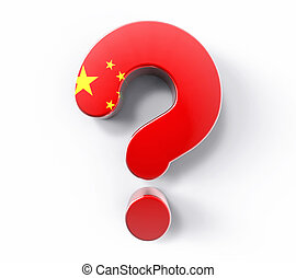 3D Isolated China Flag Question Mark. Doubt Solution Support Concept.