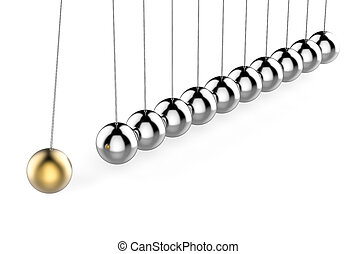 3D Isolated Pendulum Balls Ilustration. Business Teamwork Concept.