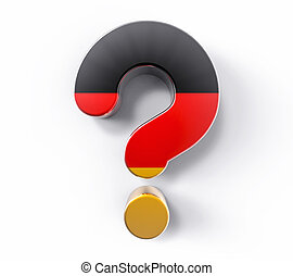 3D Isolated Germany Flag Question Mark. Doubt Solution...