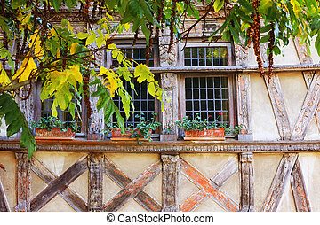 Facade of fachwerk house, Saint-Brieuc, Brittany, France
