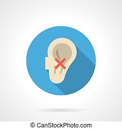 Hearing problems round color vector icon