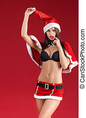 portrait of sexy woman in the clothes  Santa Claus