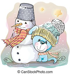 Cute Puppy and snowman - Cute Cartoon Puppy in a knitted cap...