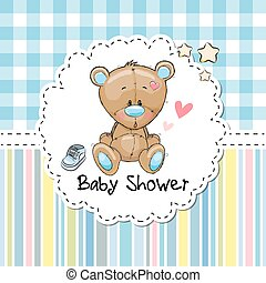 Baby Shower Greeting Card with Bear